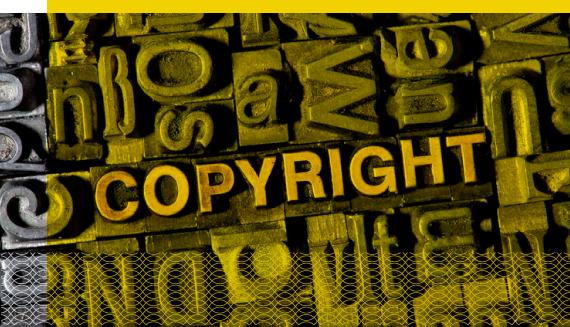 Banner Direito autoral, propriedade industrial e propriedade-intelectual. Imagem contendo a inscrição Copyright.